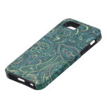 Green Tones Vintage Ornate Paisley Pattern iPhone 5 Cases
