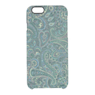 Green Tones Vintage Ornate Paisley Pattern Clear iPhone 6/6S Case