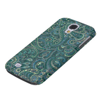 Green Tones Vintage Ornate Paisley Pattern Galaxy S4 Case