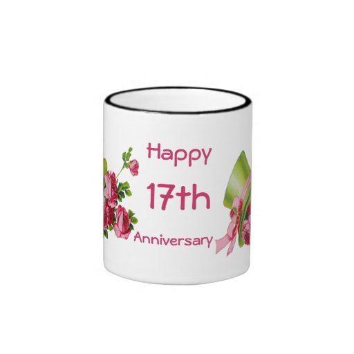 Green Top hat and flowers, Happy 17th Anniversary Mug