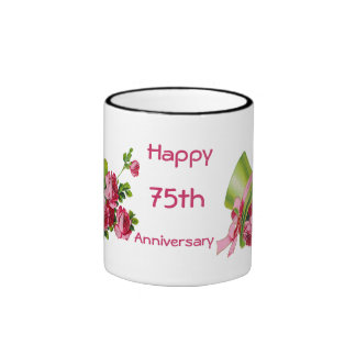 Green top hat and roses, Happy 75th Anniversary Ringer Mug