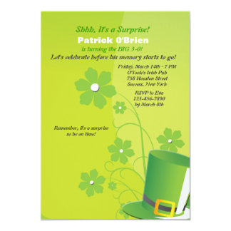 Green Top Hat Party Invitation