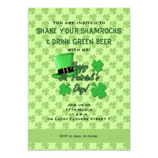 Green top hat Shamrocks St. Patricks Day Invite