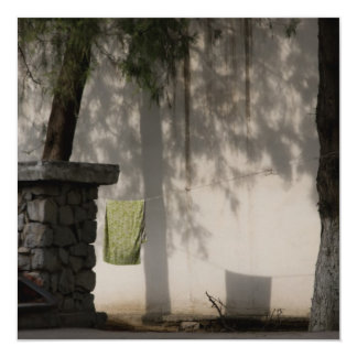 Green Towel 13 Cm X 13 Cm Square Invitation Card