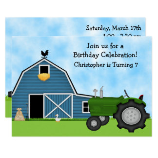 Green Tractor and Blue Barn Boys Birthday Invite