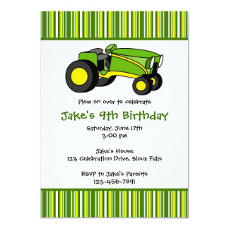 "Green Tractor Birthday Party Invitations 5"" X 7"" Invitation Card"