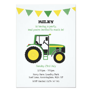 Green Tractor Birthday Party Invite