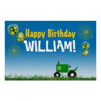 Green Tractor Birthday Poster