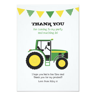 Green Tractor Birthday Thank You Note Card