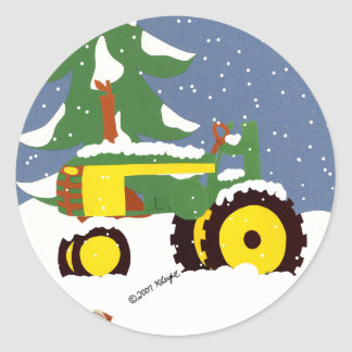 Green Tractor Envelope Seal Winter Sticker