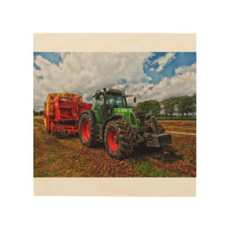 Green Tractor & Grain mixer wood wall art