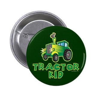 Green Tractor Kid 6 Cm Round Badge