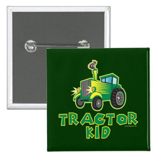 Green Tractor Kid Pinback Buttons