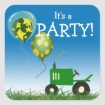 Green Tractor Party Envelope Seal Square Sticker