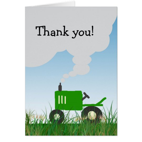 Green Tractor Thank You Note Card