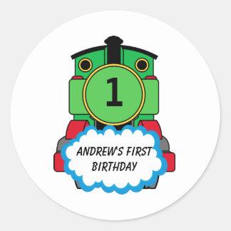 Green Train Happy Birthday Round Sticker