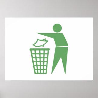 Green Trash Can Sign Print
