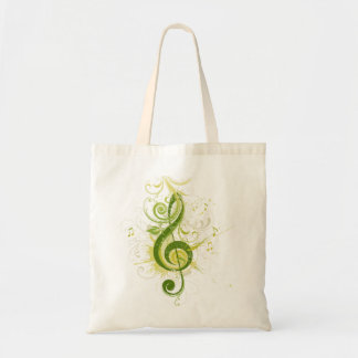 Green Treble Clef Budget Tote Bag