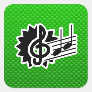 Green Treble Clef Square Sticker