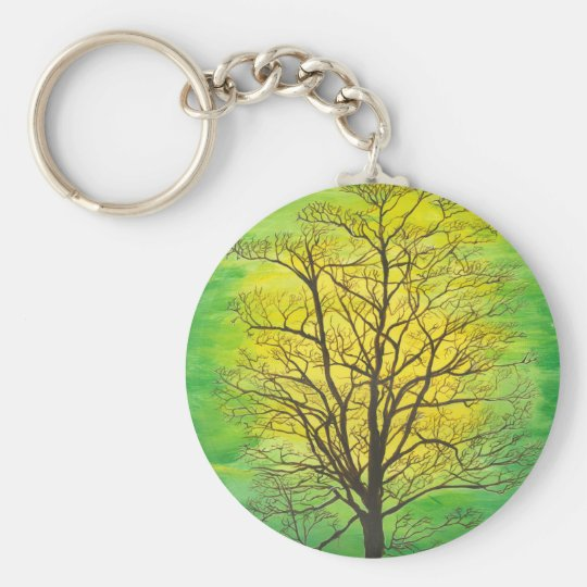 Green Tree Basic Round Button Key Ring