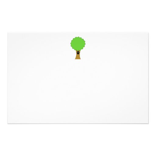 Green tree cartoon with creature. full color flyer
