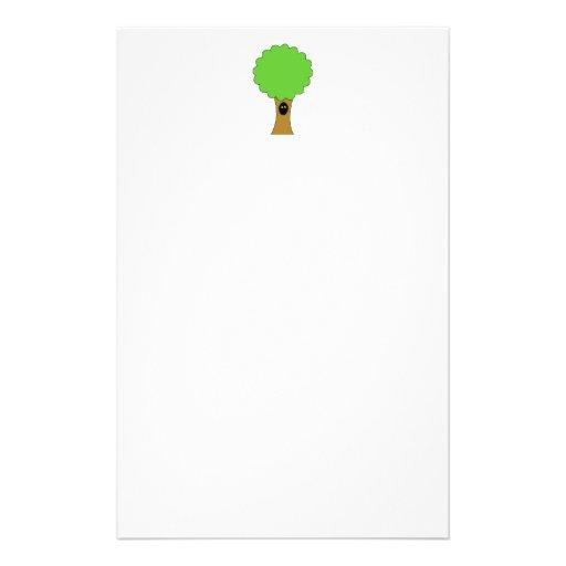 Green tree cartoon with creature. custom flyer