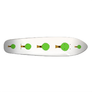 Green tree cartoon with creature. skateboard deck