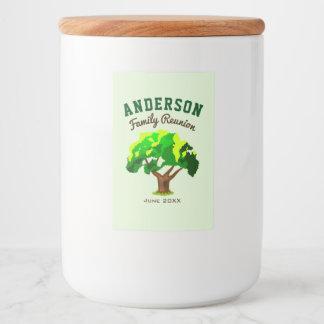 Green Tree Custom Name Family Reunion Food Label