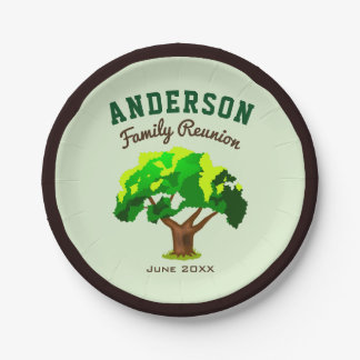 Green Tree Custom Name Family Reunion Paper Plate