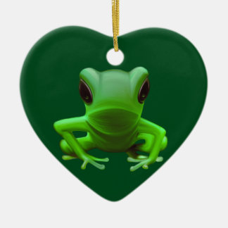 Green Tree Frog Ceramic Heart Decoration