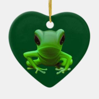 Green Tree Frog Christmas Ornament