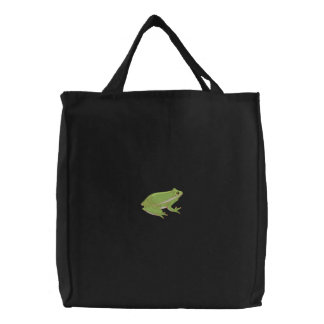 Green Tree Frog Embroidered Tote Bag