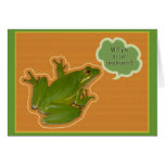 Green Tree Frog Ring Bearer Request Card