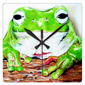Green Tree Frog Square Wall Clock