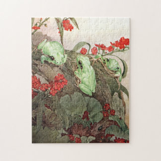 Green Tree Frogs by E. J. Detmold Jigsaw Puzzle