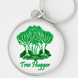 Green Tree Hugger Nature Environment Trees Silver-Colored Round Key Ring