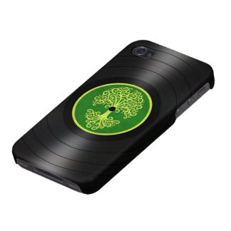 Green Tree of Life Vinyl Record Graphic iPhone 4/4S Case