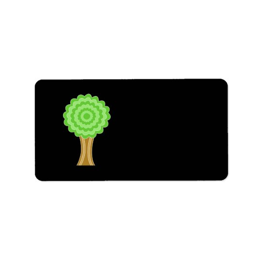 Green Tree. On black background. Address Label