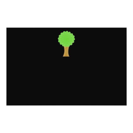 Green Tree. On black background. Flyer