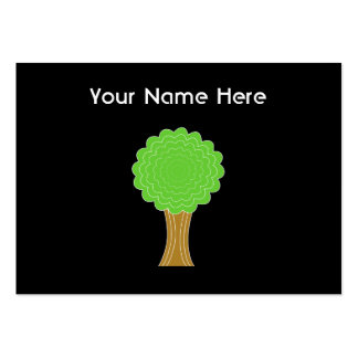 Green Tree. On black background. Pack Of Chubby Business Cards