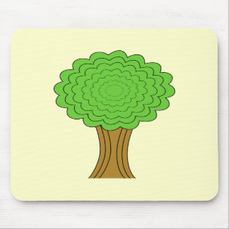 Green Tree. On cream background. Mousepad