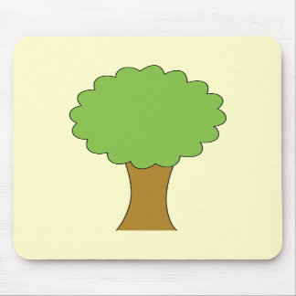 Green Tree On cream background Mousepads