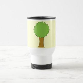 Green Tree. On cream background. Travel Mug
