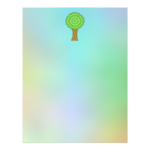 Green Tree. On multicolored background. Flyers