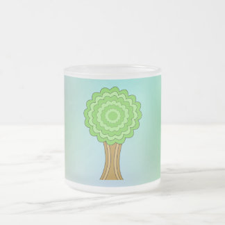 Green Tree. On multicolored background. Frosted Glass Coffee Mug