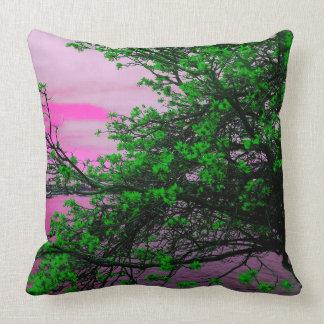 Green Tree & Pink Sky Throw Cushion