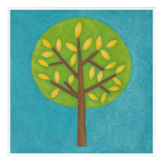 Green Tree with Yellow Leaves by Chariklia Zarris Acrylic Print