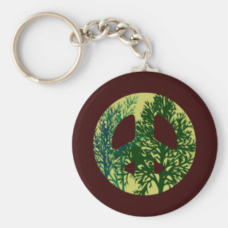 Green Trees Peace Sign Basic Round Button Key Ring