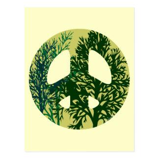 Green Trees Peace Sign Blank Art Card