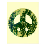 Green Trees Peace Sign Blank Art Card Postcard